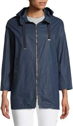 Herno Waxed Cotton A-Line Rain Coat w/ Hood