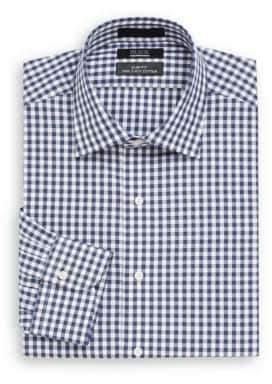 Saks Fifth Avenue BLACK Slim-Fit Gingham Cotton Dress Shirt