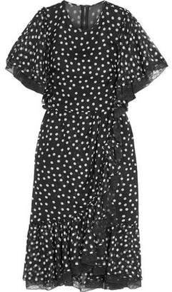 Dolce & Gabbana Lace-Trimmed Polka-Dot Silk-Blend Chiffon Dress