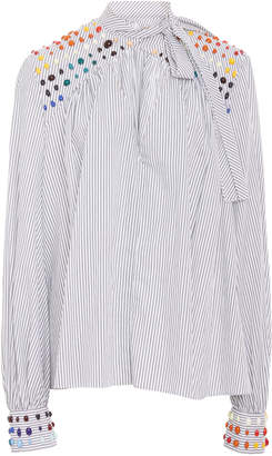 Rosie Assoulin Bead-Embellished Striped Cotton-Poplin Shirt