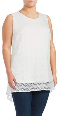 Vince Camuto Plus Mesh-Overlay Top