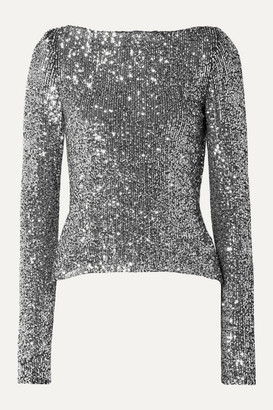 Naeem Khan Open-back Sequined Stretch-knit Top - Silver