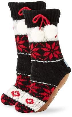 Jane & Bleecker Knit Instarsia Faux-Fur Lined Sock Slippers
