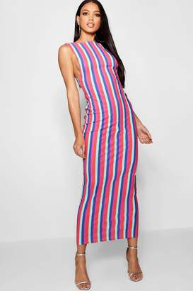 boohoo Side Boob Stripe Print Jersey Maxi Dress