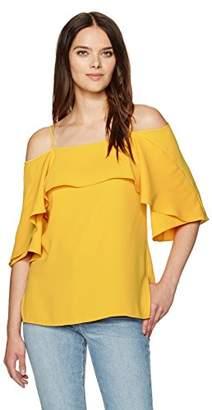 Halston Women's Flowy Sleeve Cold Shoulder Top
