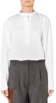 Tibi Satin Poplin Back Button Shirt
