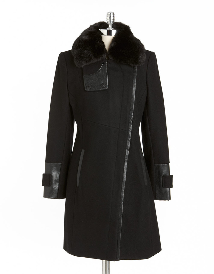 VIA SPIGA Asymmetric Faux Fur-Trimmed Coat