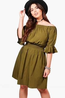 boohoo Plus Tia Off Shoulder Frill Sleeve Dress
