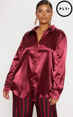 PrettyLittleThing Plus Deep Burgundy Satin Button Front Shirt