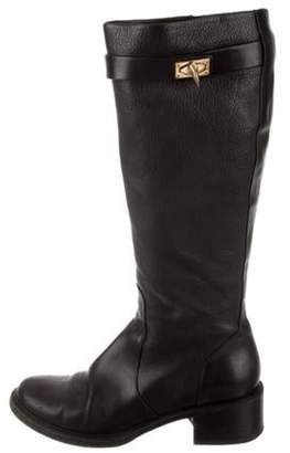 Givenchy Round-Toe Leather Boots Black Round-Toe Leather Boots