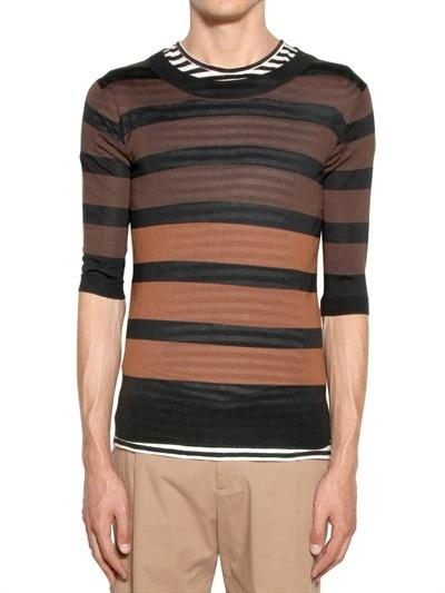 Les Hommes Striped Light Silk Tricot Round Neck