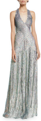 Jenny Packham V-Neck Cross-Back Sleeveless Rainbow-Sequin Evening Gown