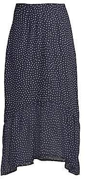 Rixo Women's Leandra Polka Dot Silk Midi Flounce Skirt