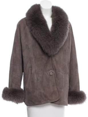 Fur Fur-Trimmed Shearling Coat