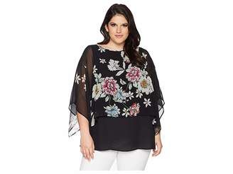 Karen Kane Plus Plus Size Sheer Overlay Top Women's Clothing
