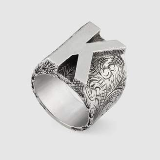 """Gucci Letter """"K"""" ring in silver"""