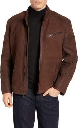 FLYNT Regular Fit Quilt Stitch Leather Moto Jacket