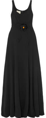 Gucci Appliquéd Grosgrain-trimmed Crepe Gown - Black