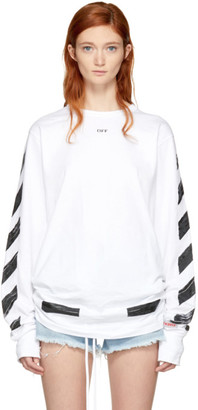Off-White White Long Sleeve Brushed Diagonal T-Shirt $305 thestylecure.com
