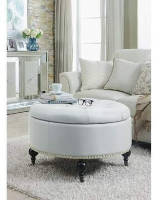 Chic Home Keller Round Ottoman Hidden Storage Upholstered PU Leather