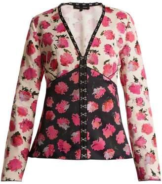 Pink floral blouse shopstyle com proenza schouler floral print v neck blouse womens black pink mightylinksfo