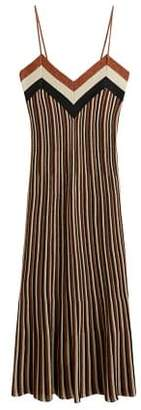 MANGO Metallic striped dress