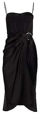 Jonathan Simkhai Women's Crepe Satin Bustier Wrap Dress