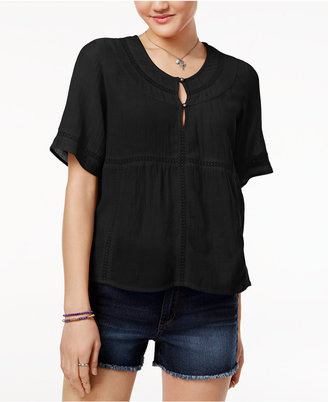 Roxy Juniors' Crochet-Trim Henley Top $44.50 thestylecure.com