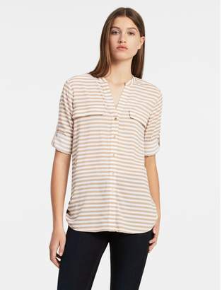 Calvin Klein striped roll-up sleeve shirt