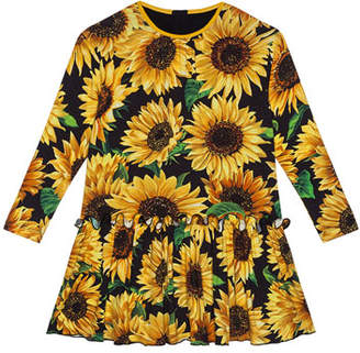 Dolce & Gabbana Girl's Long-Sleeve Sunflower Print Dress, Size 8-12