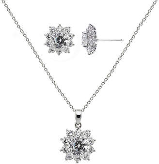 FINE JEWELRY DiamonArt Cubic Zirconia Sterling Silver Flower Earring and Pendant Necklace Set