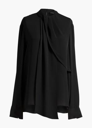 St. John Drape Neck Silk Georgette Blouse