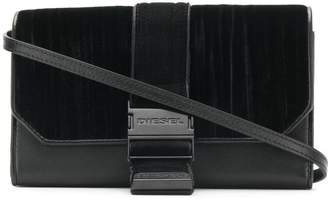 Diesel velvet panelled clutch bag