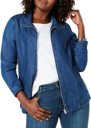 Karen Scott Denim Zip Front Jacket