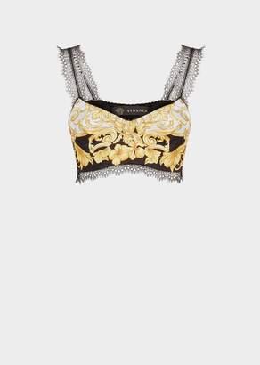 Versace Gold Hibiscus Print Silk Bralette Top