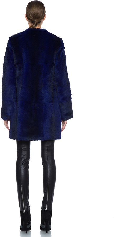 Diane von Furstenberg Candice Fur Jacket in Ultramarine