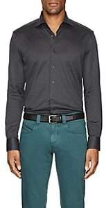 Cifonelli Men's Cotton Piqué Long-Sleeve Polo Shirt - Charcoal