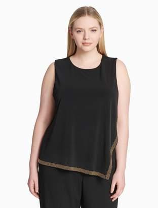 Calvin Klein plus size asymmetric studded sleeveless top