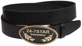 DSQUARED2 Leather Belt W/ Logo Metal Buckle