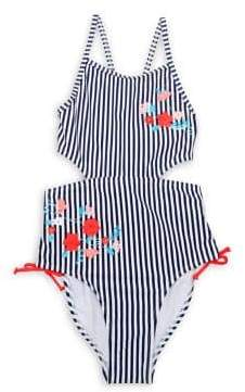 Flapdoodles Girl's Embroidered Stripe One-Piece Swimsuit