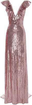 Monique Lhuillier Sequin Ruffled V-Neck Gown