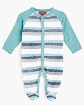 7 For All Mankind Boy's 0-9M Footie in Deep Well Stripe