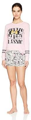 Disney Women's Minnie Mouse 2pc Pajama Short and Long Sleeve Tee Set