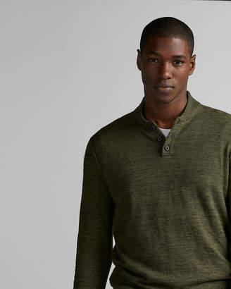 Express Shawl Collar Marled Henley Sweater