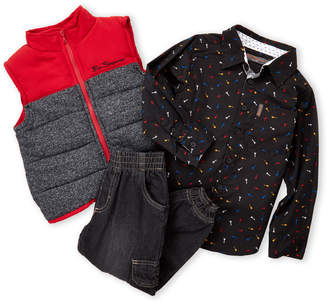 Ben Sherman Boys 4-7) 3-Piece Puffer Vest & Denim Joggers Set