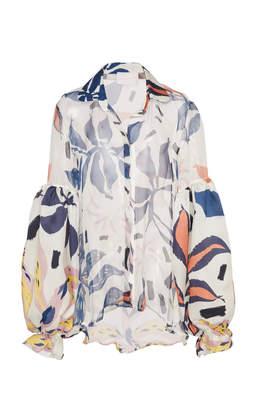 Ila Leal Daccarett Floral Silk Organza Shirt