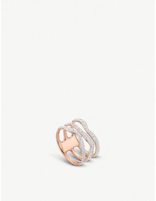 Monica Vinader Riva wave rose-gold vermeil pavé diamond triple ring