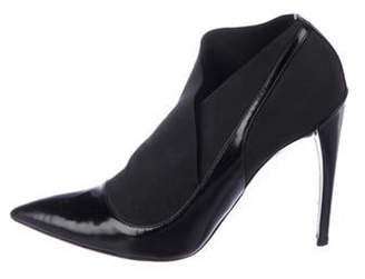 Christian Dior Asymmetrical Patent Leather Booties Black Asymmetrical Patent Leather Booties