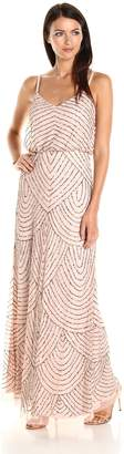 Adrianna Papell Women's Long Blouson Dress, Taupe/Pink, 10P