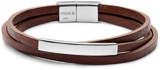 Fossil Plaque Brown Leather Wrist Wrap